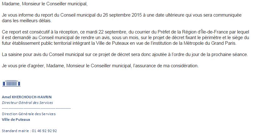 Annulation conseil municipal Puteaux